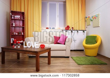 Colourful interior. Comfortable living room