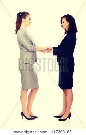 Two businesswomen holding their hands together.