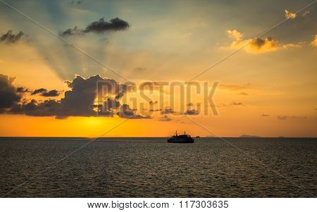 Scenery Of The Sea During Sunset With Ferry