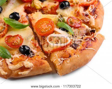 Delicious fresh pizza on white background