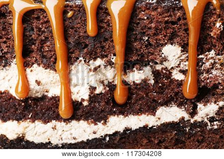 Piece of chocolate cake with caramel, macro view
