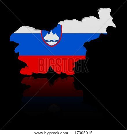 Slovenia map flag with reflection illustration