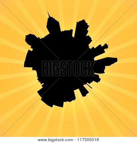 Circular Philadelphia skyline on sunburst illustration