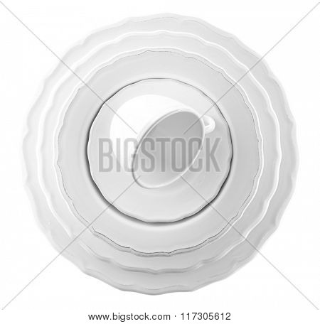 Stack of plates with cup, isolated on white
