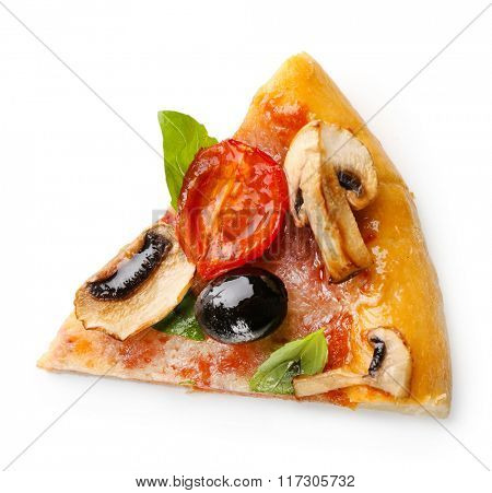 Slice of delicious tasty pizza, isolated on white