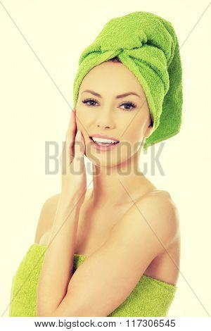 Beauty woman with turban towel.