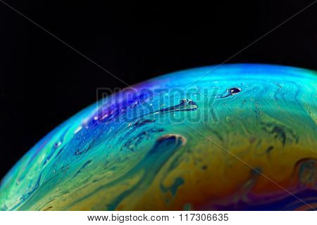 Chemical Reactions On The Surface Of The Bubble.on The Black Background.