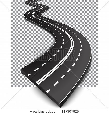 Curved road with white markings
