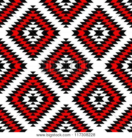 Black red and white aztec ornaments geometric ethnic seamless pattern, vector