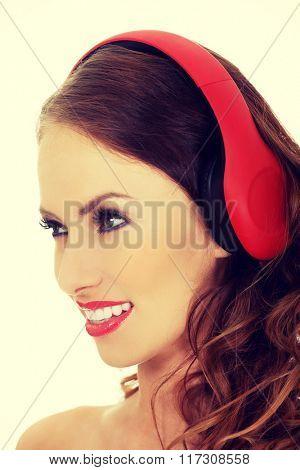 Beauty woman with headphones.