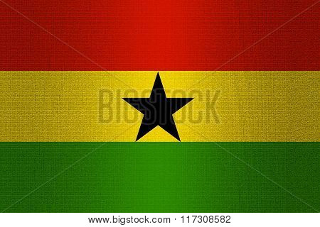Flag Of Ghana On Stone
