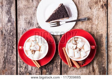 Hot Chocolate With Marshmallow And Piece Of Cake