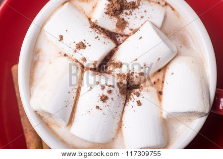 Close Up Image Of Hot Cocoa With Marshmallow
