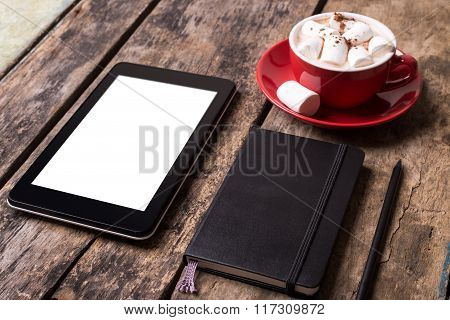 Blank Tablet Pc With Notebook And Cup Of Cocoa