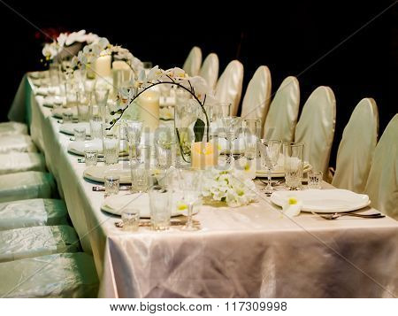 Beautiful table setting for celebration. Shallow DOF