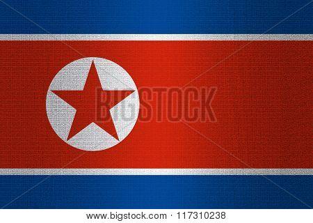 Flag Of North Korea On Stone