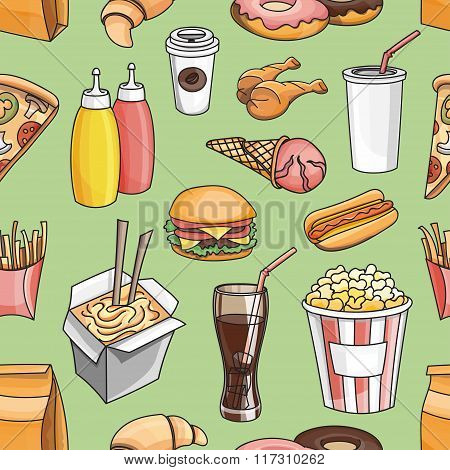 Doodle pattern fast food
