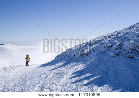 One  Mountaineer In Snow Winter Mountain, Bulgaria
