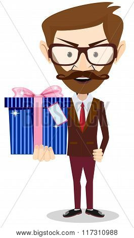 Young successful businessman gives a gift
