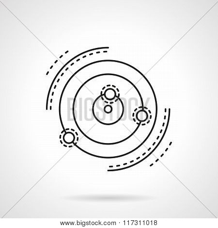 Abstract star system model flat line vector icon