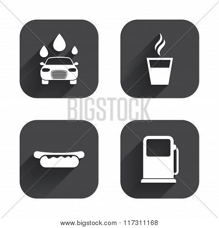 Petrol or Gas station services icons. Car wash.