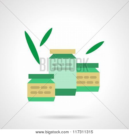 Canned organic food flat color vector icon
