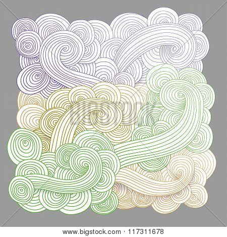 Tangled pattern, waves background.
