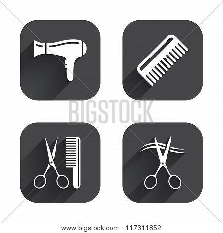 Hairdresser icons. Scissors cut hair symbol.