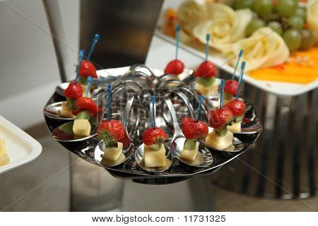 Metallic Banquet Meal Trays Served