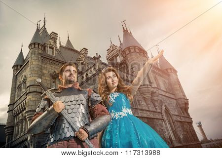Beautiful Princess Is Showing Something To Her Brave Knight
