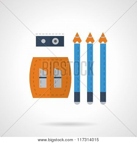 Stationery vector icon. Pencils and sharpener flat