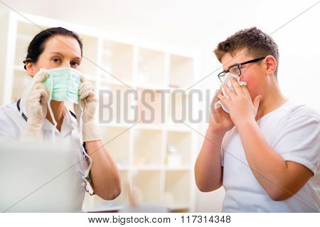 Teenager boy at the doctor for a checkup - being examined