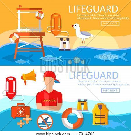 Lifeguards Banners Work Of A Professional Lifeguard On The Beach Vector Illustration