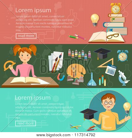 Education Banners Schoolboy And Schoolgirl Studying Knowledge Vector Illustration