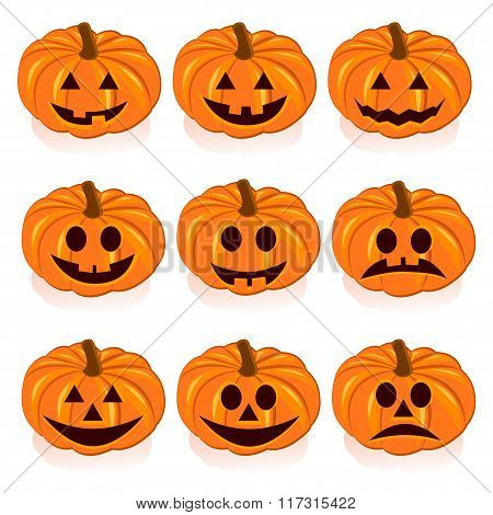 Set pumpkins for Halloween on white background