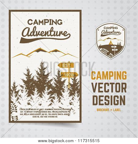 Camping adventure vector brochure and label The concept of flyer for your business, web sites, prese