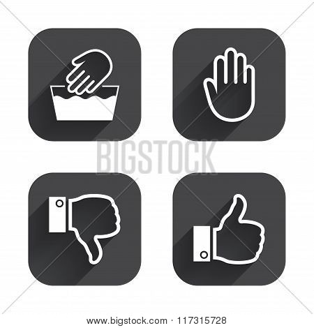 Hand icons. Like and dislike thumb up symbols.