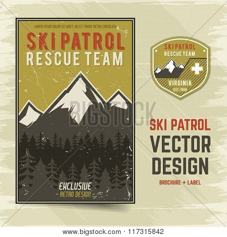 Ski patrol vector brochure and label. The camp concept of flyer for your business, web sites, presen