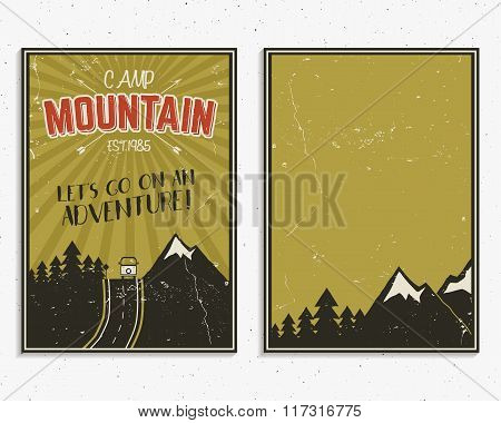 Retro summer or winter holiday posters. Travel and vacation brochure. Camping promotional banner. Vi