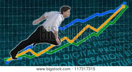 Racing to Success Business Executive Caucasian Man Illustration