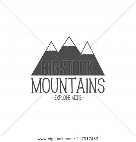 Hand drawn mountain badge. Wilderness old style typography label. Letterpress Print Rubber Stamp Eff