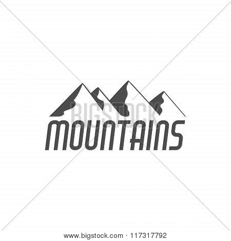 Hand drawn mountain badge. Wilderness old style typography label. Minimalistic line design . Retro m