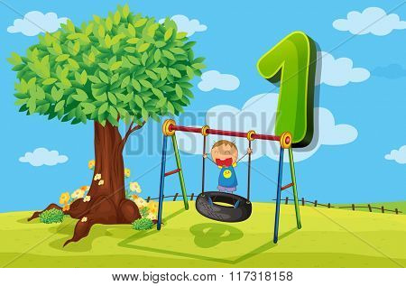 Flashcard number 1 with one children in the park illustration
