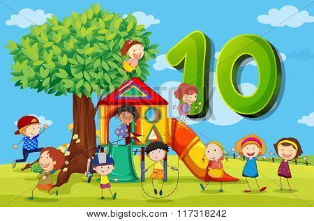 Flashcard number 10 with ten children in the park illustration