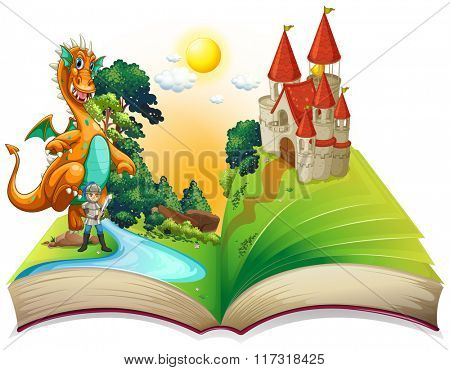 Book of dragon and knight  illustration