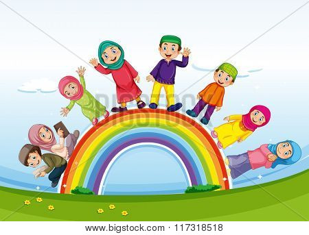 Muslim family standing on rainbow illustration