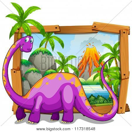Wooden frame with purple dinosaure in jungle illustration