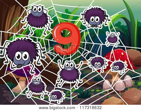 Number nine with nine spiders on web illustration