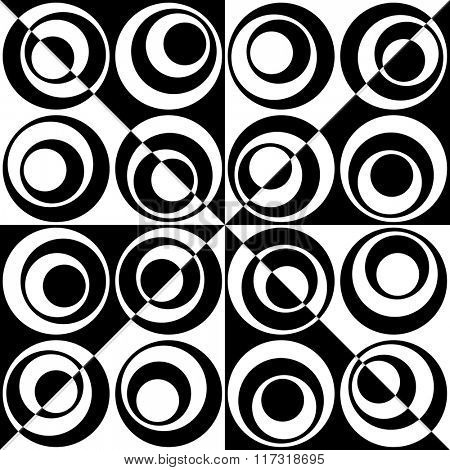 Seamless Circle and Triangle Pattern. Abstract Black and White Background
