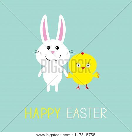 Cute Bunny Rabbit And Chicken. Happy Easter.  Round Frame. Flat Design.